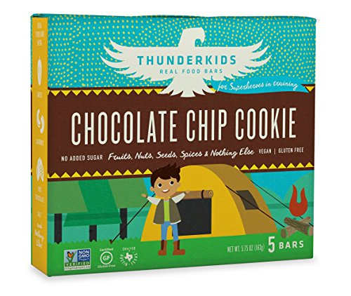 Thunderkids Paleo and Vegan Snacks - Real Food Energy Bars - Chocolate Chip Cookie - Box of 5 - No Added Sugar, Grain and Gluten Free, Whole 30, Non-GMO