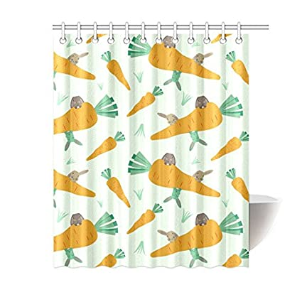 InterestPrint Shower Curtains Rabbit Curtain Bath Printed Waterproof Fabric Polyester 60x72 Inch