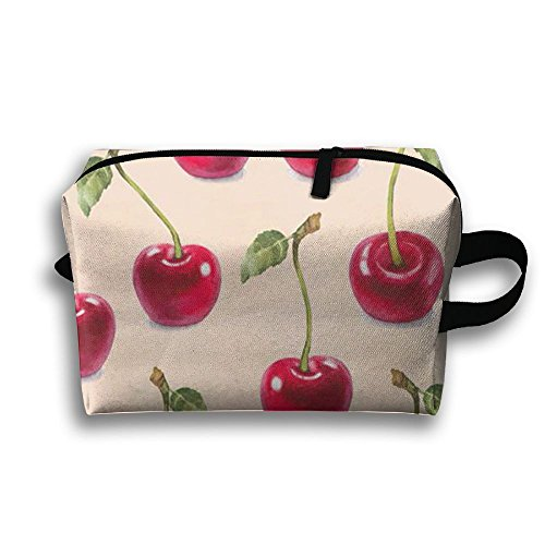 Cherry Pattern Travel Bag Cosmetic Bags Brush Pouch Portable Makeup Bag Zipper Wallet Hangbag Pen Organizer Carry Case Wristlet - Mall Open Cherry Hill