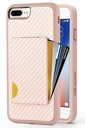 iPhone 8 Plus Wallet Case, iPhone 7 Plus Card Holder Case, ZVEdeng iPhone 8 Plus Credit Card Grip Cover with Carbon Fiber Protective Wallet Case for Apple iPhone 7 Plus / 8 Plus 5.5 Rose Gold