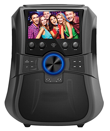SuperSonic Rechargeable Bluetooth Karaoke System with 7-Inch LCD Color Screen, Record Function, USB/AUX/FM/DVD (SC-3077K)