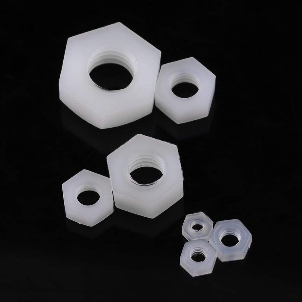 M2 100 Piezas M2-M8 Tuerca De Nylon Hexagonal Sujetador De Rosca Hardware Profesional Blanco Tuerca De Nylon Hexagonal Idalinya