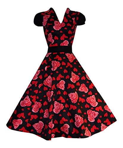 Années 1940 's 's Style rétro avec cœur et roses Full Circle Jive Robe à Thé-Swing Promo
