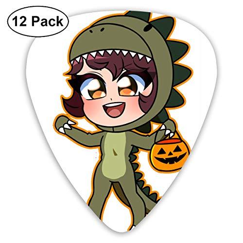 Dinosaur Costume Girl Halloween Pumpkin Small Medium Large 0.46 0.73 0.96mm Mini Flex Assortment Plastic Top Classic Rock Electric Acoustic Guitar Pick Accessories Variety Pack ()