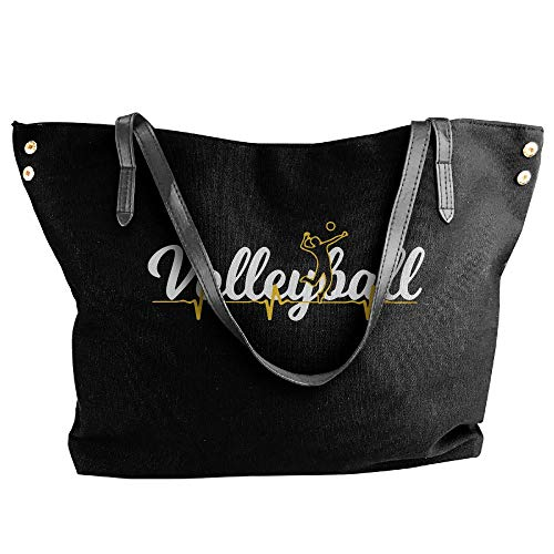 Women Canvas Shoulder BagVolleyball Heartbeat School Bags