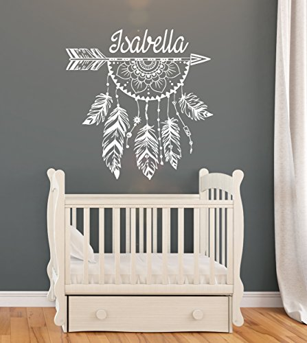 Arrow Wall Decal Name Personalized Custom Decals Boho Rustic Vinyl Sticker Home Decor Nursery Girl Baby Room Kids Stickers Children#039s Bohemian Decor Art Mural SM243