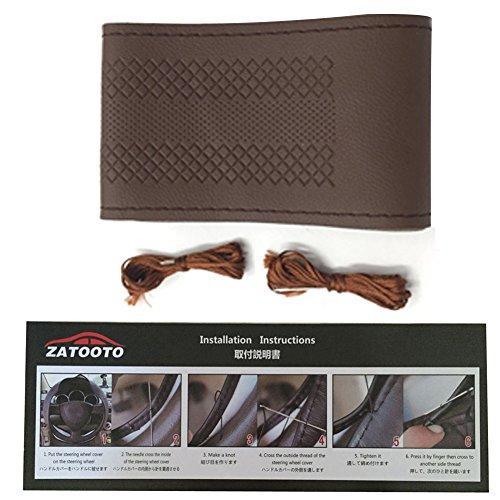 Car Steering Wheel Cover - Universal Microfiber Leather DIY Sew On Steering Wheel Covers Wrap 14.5