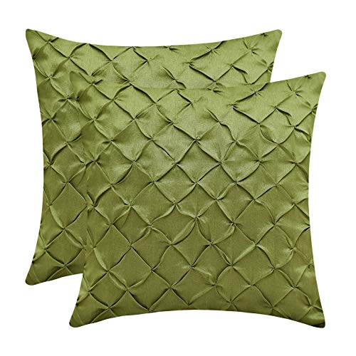 The White Petals Moss Green Throw Pillow Covers (Faux Silk, Pinch Pleat, 22x22 inch, Pack of 2)
