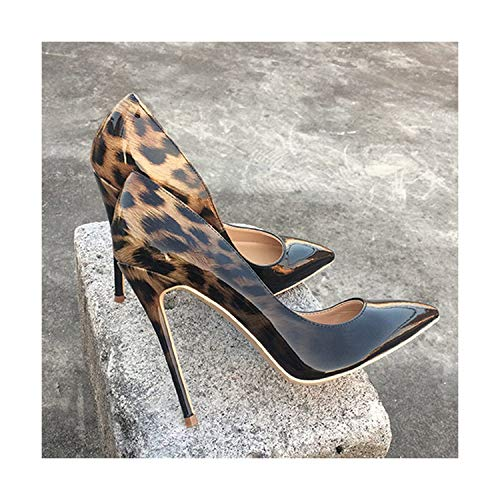 HANBINGPO Fashion Women Leopard Patent Leather Pumps Pointed Toe 8-12cm Stiletto Ultra High Heel Sexy Ladies Party Shoes Size34-43,Black Leopard 10cm,6.5 ()