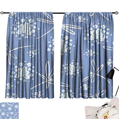 Hariiuet Adjustable Tie Up Shade Rod Pocket Curtain Seamless Pattern Vector with Wind Blow Flowers and Dragonflies Beautiful Hand-Drawn illustration8 72