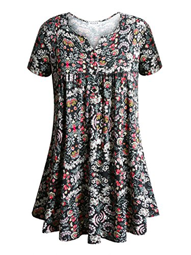 Short Sleeve Shirts for Women Plus Size,DSUK Womens Peasant Blouse Summer Tops V Neck Flower Floral Printed Slim Fitted Tunic Drape Flowy Shirt Designer Aesthetic Clothing Black X Large