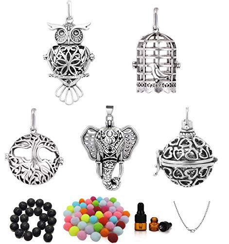 Yaoding 5pcs Mix Hollow Bird Cage Owl Tree Elephant Ball Locket Lava Stone Perfume Fragrance Essential Oil Aromatherapy Diffuser Pendant Necklace (Give Chain 、Oil Bottle、 Lava Stone、Pompon)
