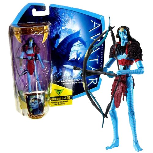 Mattel Year 2009 James Cameron's Avatar Highly Articulated Detailed 4 Inch Tall Movie Replica Action Figure - Na'vi Eytukan with Bow and Arrow Plus Level 1 Webcam i-Tag (R2309)]()