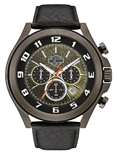 Harley-Davidson Men's Six-Hand Chronograph Watch, Tumbled Gray Finish 78B149
