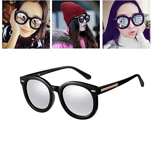 Sun Gafas Retro Vidrios Negra película De Everbright Una Caja Cuadro Reflectante Dama Moda Personalidad Con Nuevas Sesgo Color Sol glasses rR0qwr