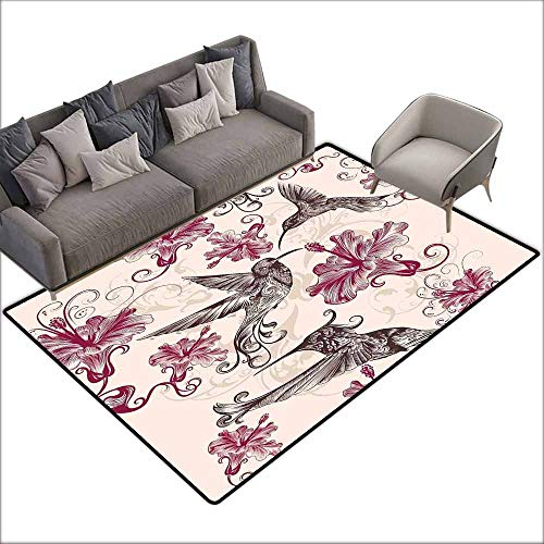 - Dining Table Rugs Hummingbirds Decorations,Pattern with Birds and Flowers Swirl Flourish Festive Antique Old Style Ornament 36