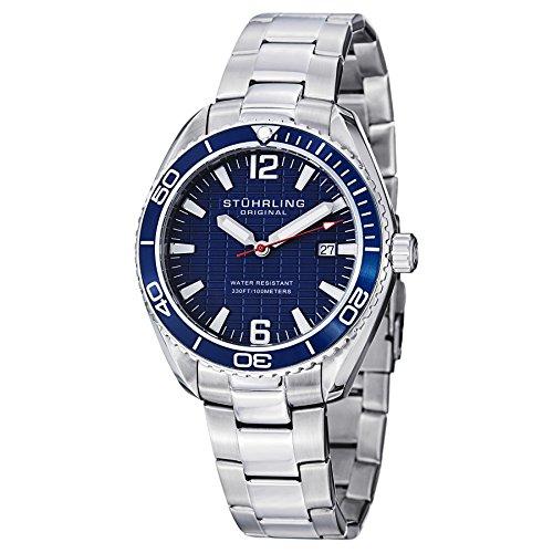 Stuhrling Original Men's 515.03 Aquadiver Regatta Endeavor Swiss Quartz Date Blue Dial Dress Watch