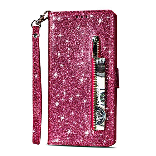 Zipper Wallet Case for Samsung Galaxy S8,Gostyle Samsung Galaxy S8 Bling Glitter Leather Case with Card Holder,Flip Magnetic Closure Stand Cover with Cash Pocket and Hand Strap-Rose Red