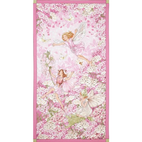 Michael Miller Petal Flower Fairies Panel Pink Fabric By The Yard