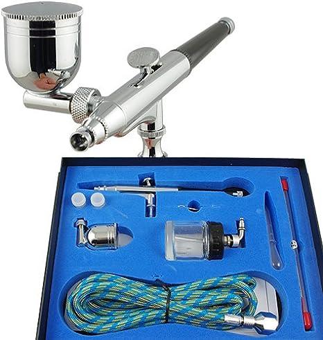 Ipotools Airbrush Pistole Spritzpistole Bd 134k Double Action Mit 1 8m Schlauch Und 3 Verschiedenen Düsen Und Nadeln 0 2 Mm 0 3mm 0 5 Mm