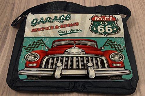 Borsa Tracolla Garage nostalgico route 66 Stampato Gas Stazioni