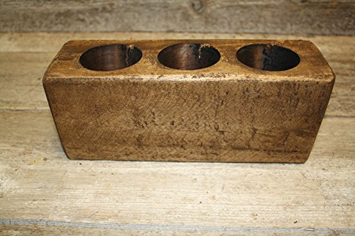 WD-wooden Antique Style Naive and Primitive - 3 Hole Wooden sugar mold candles Holder ( Size:10.75 x3.5 x 4.74 inch)