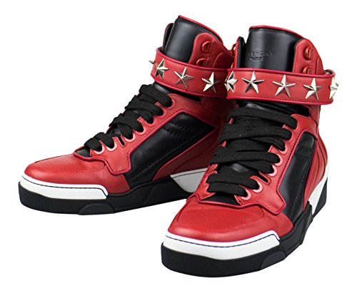 (Givenchy Red Leather High-Top Fashion Sneakers Shoes 7 US 40 EU D)