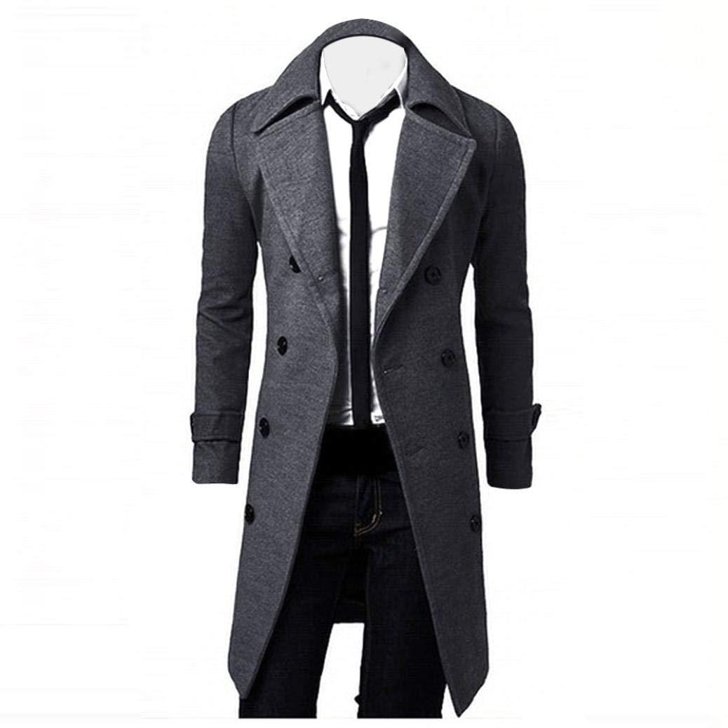 HTHJSCO Men's Trench Coat Winter Long Jacket Double Breasted Overcoat (Grey, M)