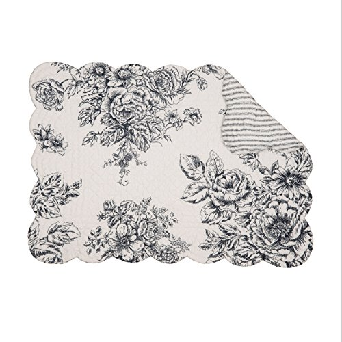 C&F Home Nelly Onyx Black Toile Cotton Quilted Single Rectangular Cotton Quilted Placemat Rectangular Placemat ()