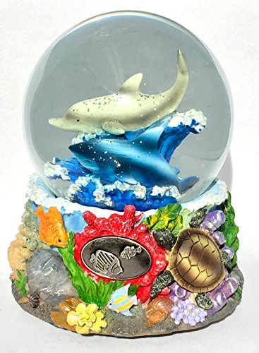 Musical Sealife Tropical Under the Sea Dolphins Sharks Turtles Great Barrier Reef Themed Snow Globe Glitterdome ()