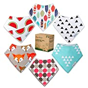 Baby Drool Bandana Bibs For Boys and Girls - Unisex 6 Pack Gift Set & Pacifier Clip - 100% Organic Cotton, Absorbent, Hypoallergenic, Adjustable - Perfect for Drooling & Teething, Prevents Skin Rash