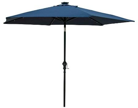 Sun-Ray 9' Solar Lighted Aluminum Patio Umbrella-Blue : Target