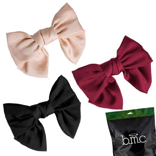 BMC Womens Satin Solid Colors Ribbon Big Bow Hair Clip Bowknot Barrette Accessory Lot - Set 1