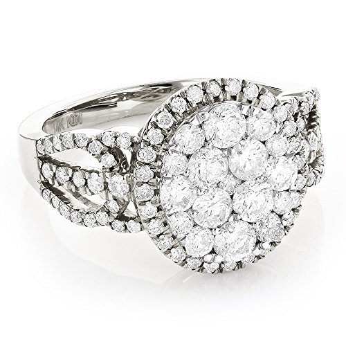 Luxurman 14K Ladies Natural Diamond Cluster Halo Engagement Ring (White Gold Size 8)