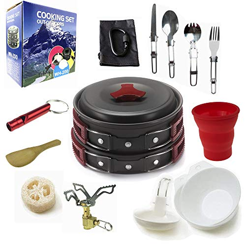 Camping Cookware Mess Kit Backpacking Gear & Hiking Outdoors Bug Out Bag Cooking Equipment 18 Piece Cookset | Lightweight, Compact, Durable Pot Pan Bowls - Free Folding Spork, Nylon Bag (Red) (Best Mess Kit For Bug Out Bag)