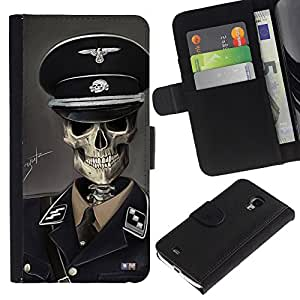 LECELL--Cuero de la tarjeta la carpeta del tirón Smartphone Slots Protección Holder For Samsung Galaxy S4 Mini i9190 -- SS Soldado --