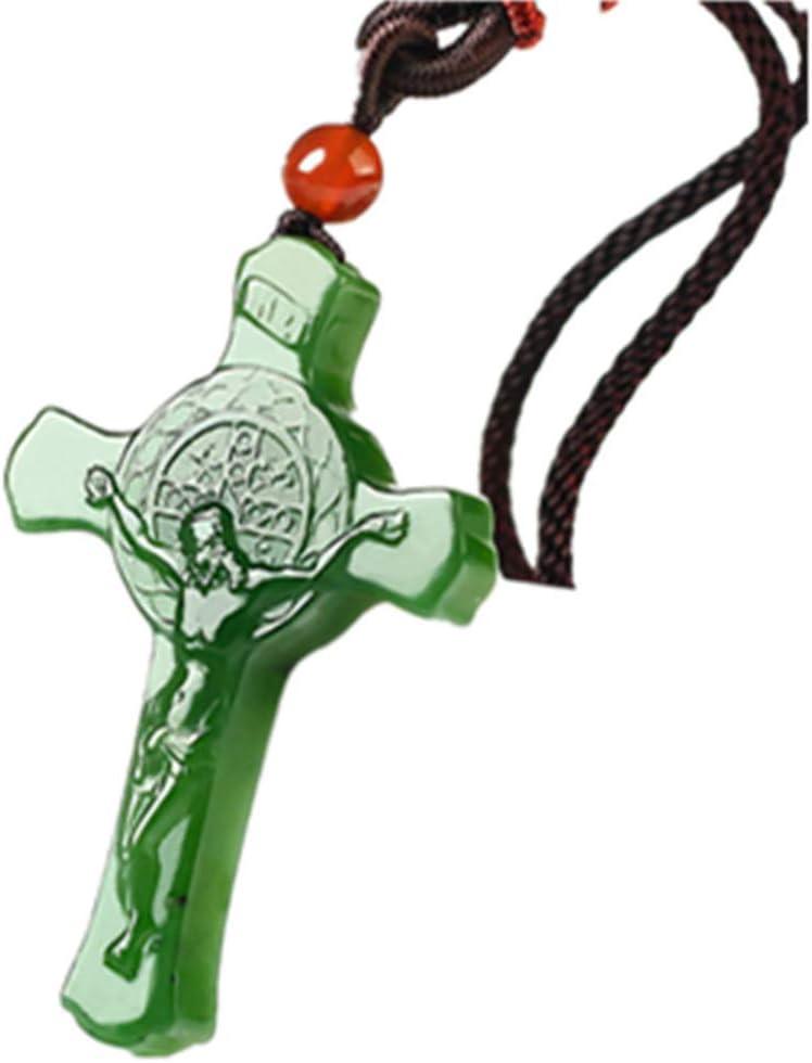 73HA73 Cristiano Natural Xinjiang Hetian Jade Cruz Collar Jade Artesanía Charm Colgante Cruz Paz y Amor Jaspe