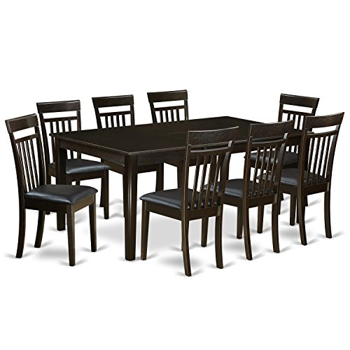 East West Furniture HECA9-CAP-LC 9Piece Dining Room Set-Dining Room Table with Leaf Plus 8 Dining Chairs