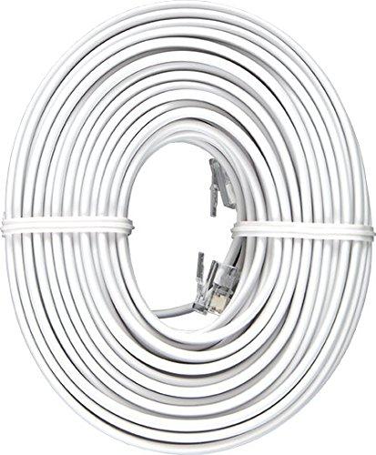 Jasco Line Cord - Power Gear Phone Line Cord, 50 Feet, White, for Phone, Modem or Fax Machine, Modular Jack Ends, 76530