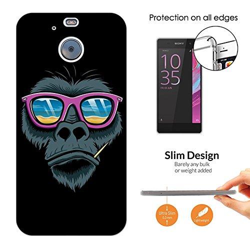 003141 - Cool monkey sunglasses Design HTC 10 evo / HTC Bolt Fashion Trend CASE Ultra Slim Light Plastic 0.3MM All Edges Protection Case - Evo Sunglasses