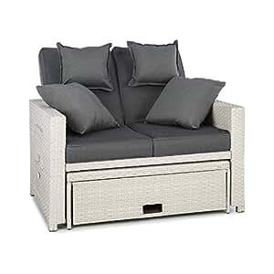 Blumfeldt Komfortzone Sofá de ratán Dos plazas con Mesa Plegable (resplado inclinable, apoya pies, para jardín y terrazas, Tumbona, snackbar) - Blanco