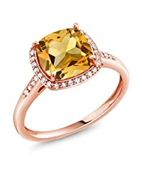 3.00 Ct Cushion Yellow Citrine 10K Rose Gold Ring with Diamond Accent (Available in size 5,6,7,8,9)