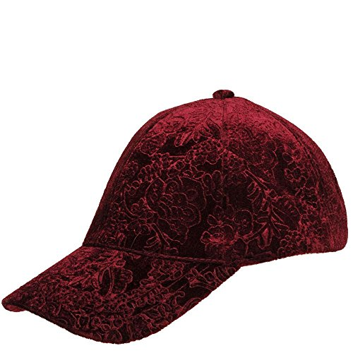 Wilsons Leather Womens Paisley Embroidered Velvet Baseball Hat Burgundy