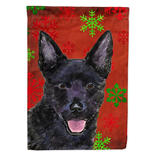 (Caroline's Treasures SS4705CHF Australian Kelpie Red Green Snowflakes Holiday Christmas Canvas House Flag, Large, Multicolor )