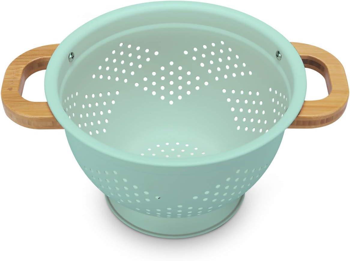 Navaris Colador de Cocina de Hierro con Mango de bambú - Escurridor metálico para Pasta arroz Verduras Quinoa - Cuenco escurridor en Verde Menta