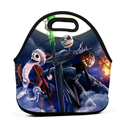 Jack-Skellington Lunch Bag Insulated Neoprene Lunch Box Boys&Girls Lunch Tote Handbag For School Work