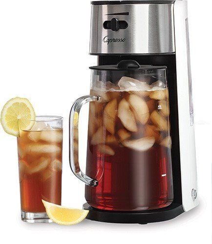 Capresso Stainless Steel Iced Tea Maker Glass Pitcher One Button Operation by Capresso