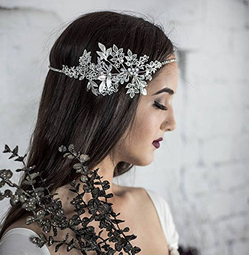 Forehead Bridal Headband, Wedding Head chain, floral halo, hair comb, vintage hair accessories, halo for the bride by Hair Floaters