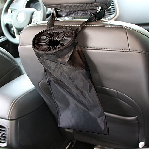 IPELY Car Vehicle Back Seat Headrest Litter Trash Garbage Bag (Black-Set of 2)