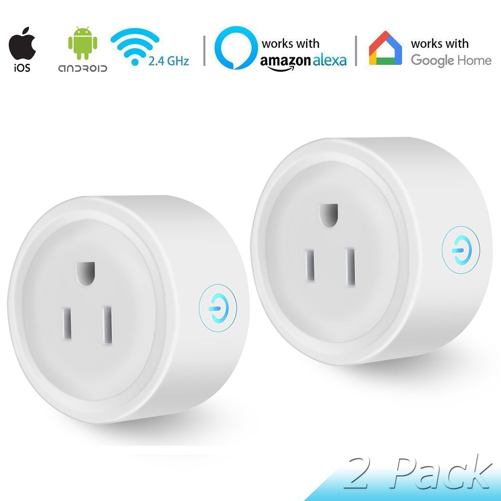 Wi-Fi Smart Plug, 2 Pack Mini Smart Outlets Sockets, No Hub Required, Works with Amazon Alexa Echo Google Assistant, Multi Function with Timing Wifi Enabled Remote Control